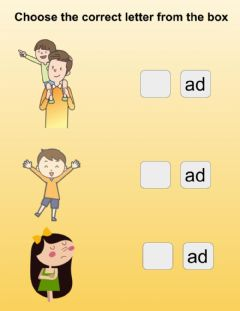 Interactive worksheet 'ad'  word family activity