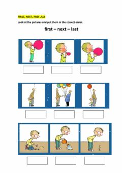 Interactive worksheet First,next,last