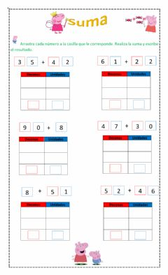 Interactive worksheet Suma simple de dos cifras