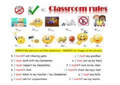 Ficha interactiva Classroom rules  - school