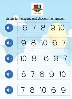 Interactive worksheet Number Recognition 6-10