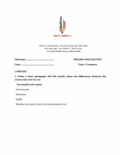Interactive worksheet Lớp 8 - Unit 3 PEOPLES OF VIET NAM-WRITING
