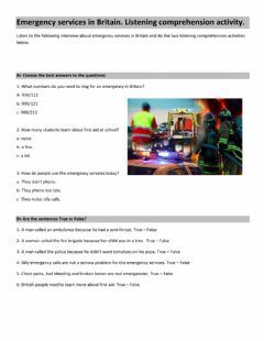 Interactive worksheet Emergency Services in Britain. Listening Comprehension Activity