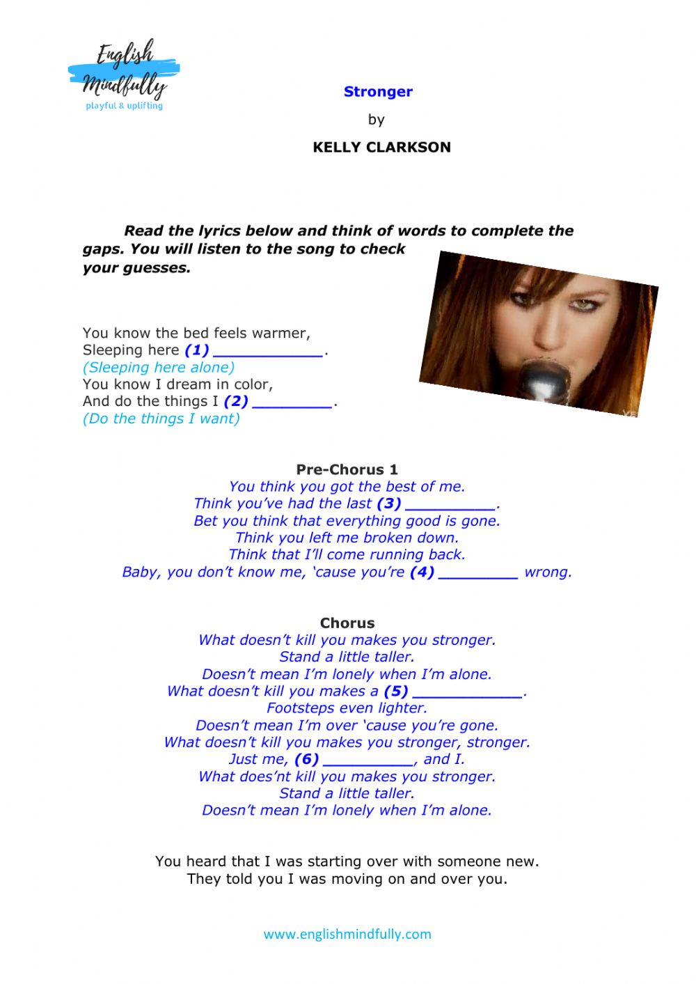 Musical Quotes Kelly Clarkson Interactive Worksheet