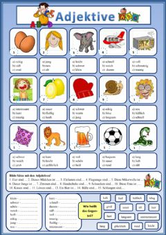 Interactive worksheet Adjektive