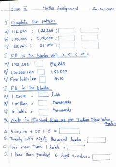 Interactive worksheet Class 5  Maths Assignment  24.08.2020