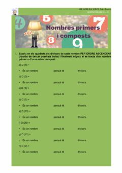 Interactive worksheet Nombres primers i nombres composts