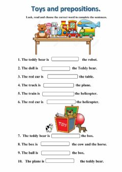 Interactive worksheet Toys and prepositions