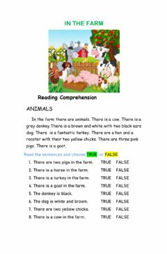Interactive worksheet In the farm reading