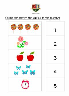 Ficha interactiva Count and match the values with the number.