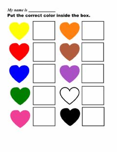 Interactive worksheet Put the correct color in the box