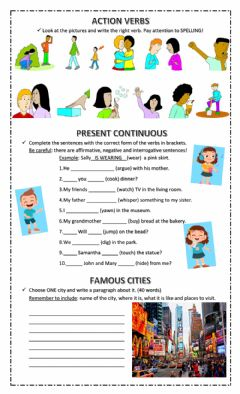 Ficha interactiva 5th Grade Test Unit 5 - Action Verbs, Present Continuous and Famous Cities