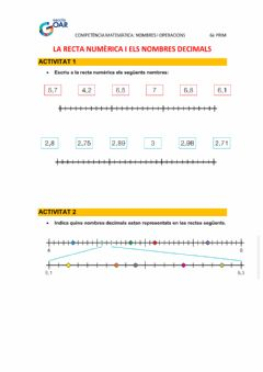 Interactive worksheet La recta numèrica i els nombres decimals