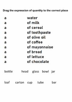 Interactive worksheet Food containers an quantities phrases