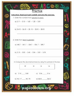 Interactive worksheet Ordering and comparing decimals