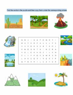 Interactive worksheet Geographical features wordsearch