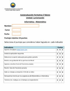 Interactive worksheet Autoevaluacion 5to unidad 1