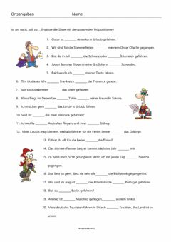 Interactive worksheet Ortsangaben