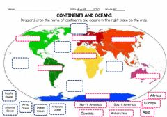 Interactive worksheet Continents and Oceans G1