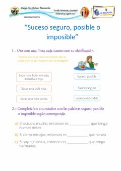 Interactive worksheet Sucesos seguro, posible e imposible