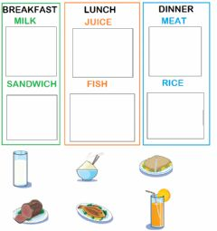 Interactive worksheet Breakfast lunch dinner