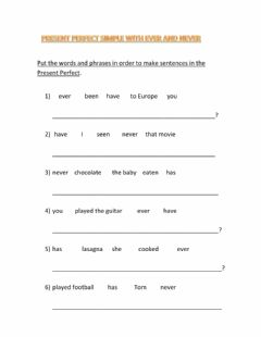 Interactive worksheet Present perfect simple
