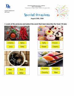 Interactive worksheet Adjectives to describe food