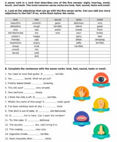 Interactive worksheet Senses adjectives and verbs