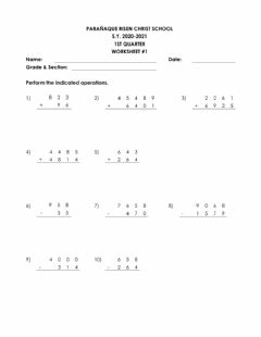 Interactive worksheet Addition and Subtraction of Whole Numbers