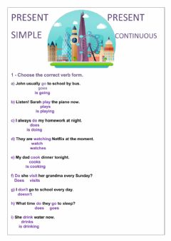 Interactive worksheet Present simple and continuous