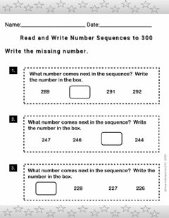 Ficha interactiva Read and Write Number Sequences to 300