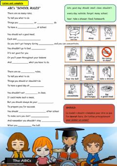 Interactive worksheet School Rules song