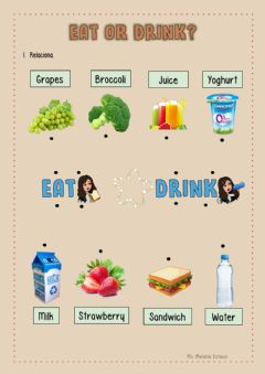 Interactive worksheet What do you eat or drink?