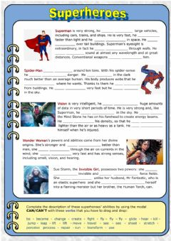 Interactive worksheet Superheroes: can-can't for ability