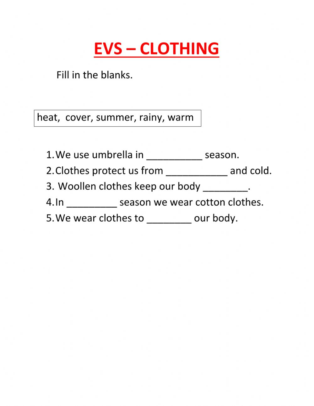 Clothing Online Activity For Grade 1