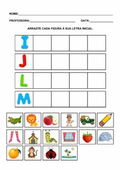 Interactive worksheet Iniciais i, j, l, m