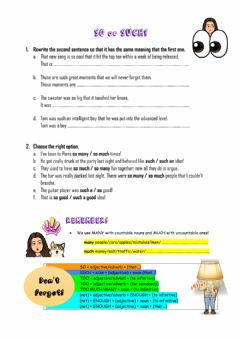 Interactive worksheet So, such, too, enough