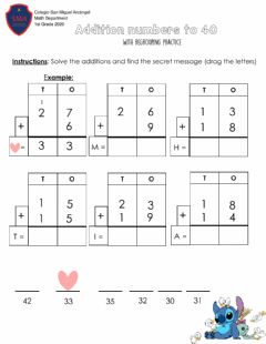 Interactive worksheet Addition with regrouping numbers to 40