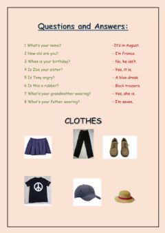 Interactive worksheet Questions and clothes