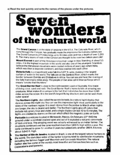 Interactive worksheet Seven Wonders of the natural world