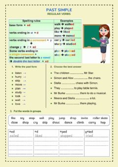 Ficha interactiva Regular verbs