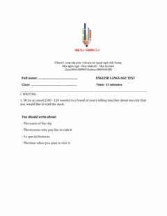 Interactive worksheet Lớp 9 - Unit 2 CITY LIFE-WRITING -