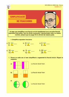 Interactive worksheet Simplificam fraccions
