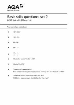 Interactive worksheet Aqa gcse basic operation
