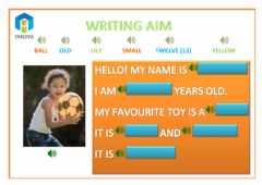Ficha interactiva Writing and listening aim - pre kids