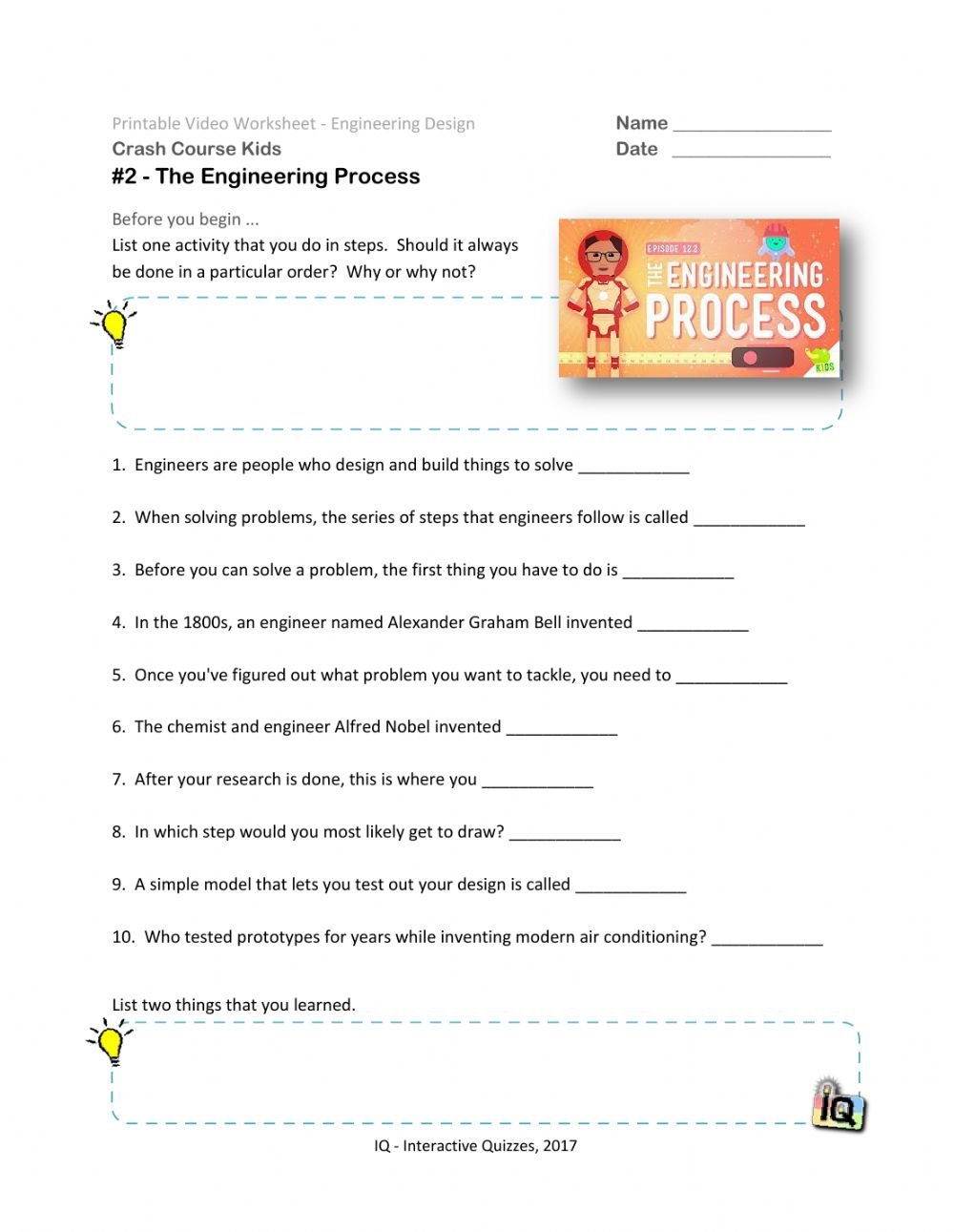 255 Crash Course The Engineering Process Video -25 worksheet Regarding Engineering Design Process Worksheet