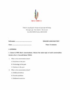 Interactive worksheet Lớp 9 - Unit 4 LIFE IN THE PAST-LISTENING