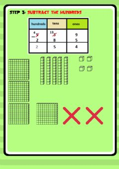 Interactive worksheet Three digits subtraction