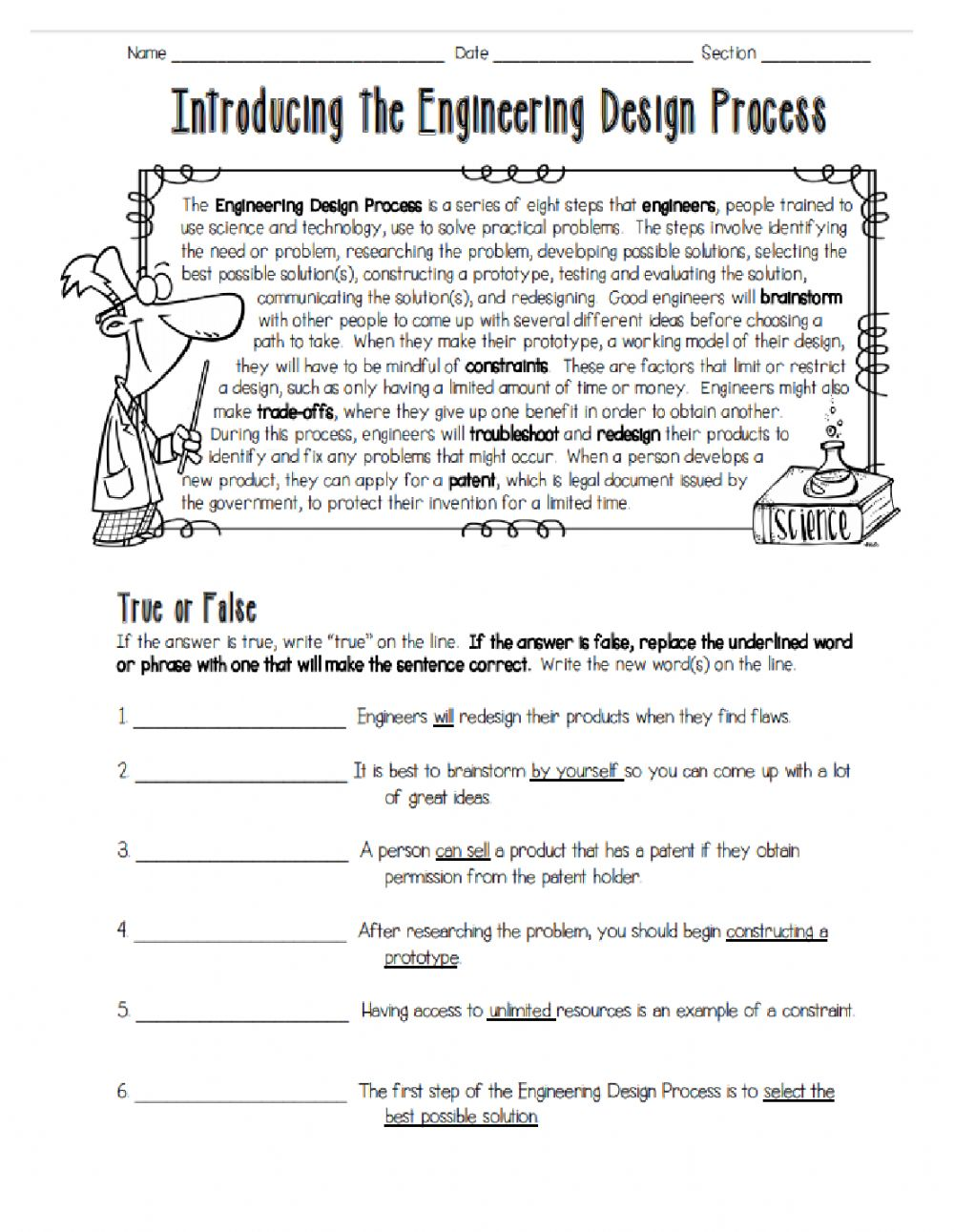 25 Introducing the Engineering Design Process worksheet Throughout Engineering Design Process Worksheet