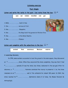 Interactive worksheet Listening exercise Past Simple